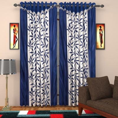 SurprizeMe Polyester Blue Printed Eyelet Door Curtain