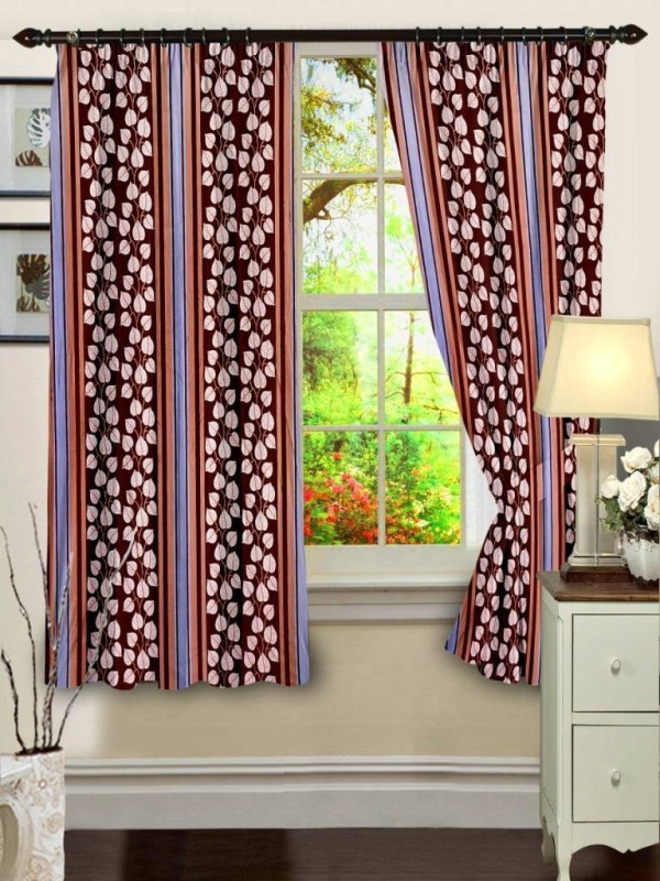 Cenizas Polyester Brown Printed Eyelet Window Curtain Premium Curtain