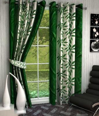 Deziner Décor Polyester Green Floral Eyelet Door Curtain