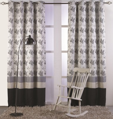 KC HOME Polycotton Grey, Black Floral Curtain Window Curtain