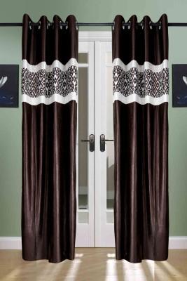 the handloom store Polyester Brown Plain, Self Design, Geometric Eyelet Door Curtain