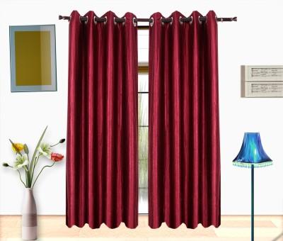 Shop24 Polyester Maroon Solid Eyelet Door Curtain