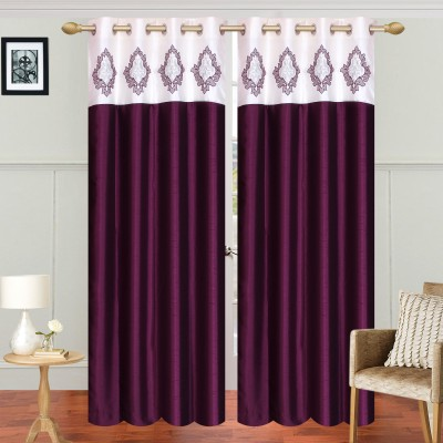 Abhi Decor Polyester WINE Embroidered Curtain Window Curtain