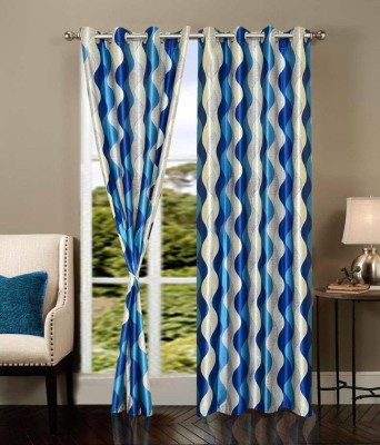 Elegence Polyester Blue Abstract Eyelet Door Curtain