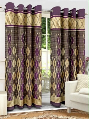 Sparrow Polyester Purple Abstract Eyelet Door Curtain