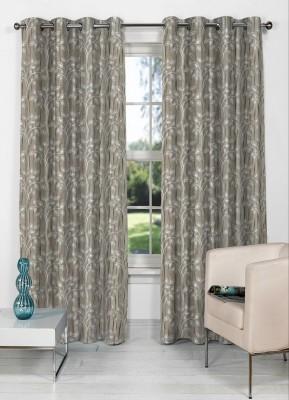 NuHome Decor Polyester Grey Floral Eyelet Long Door Curtain