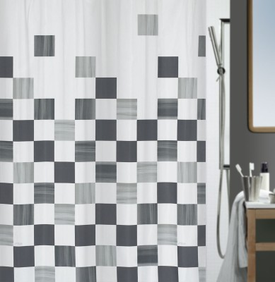 Spread Polyester Grey Printed Eyelet Shower Curtain
