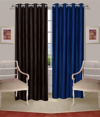 Fogg Polyester Blue, Brown Solid Tab Top Door Curtain