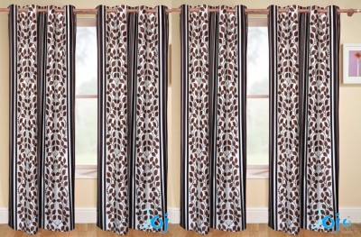 Rangoli Polyester Brown Self Design Eyelet Door Curtain