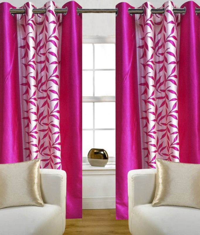 RS Quality Polyester Pink Floral Curtain Window Curtain(150 cm in Height, Pack of 2)