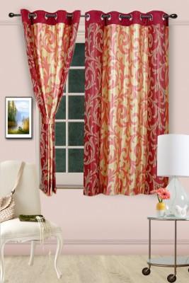 Cortina Polyester Maroon Abstract Eyelet Window Curtain