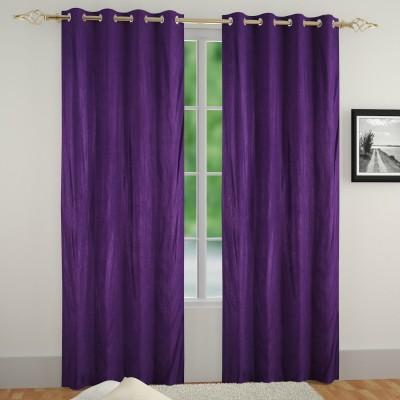 Muren Polyester Dark Blue Self Design Eyelet Door Curtain