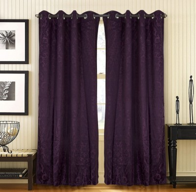 Home Candy Cotton Purple Floral Eyelet Door Curtain