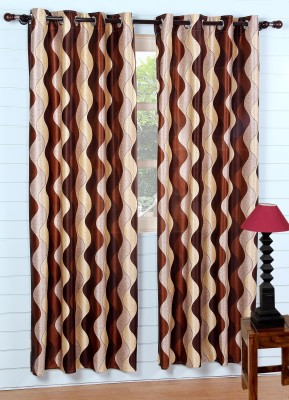 SS Decor Polyester Brown Floral Eyelet Window & Door Curtain