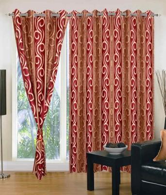 JTInternational Polyester Red Floral Eyelet Door Curtain