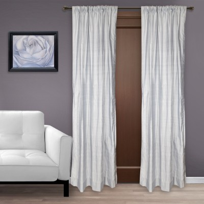 Marmitte Silk Grey Plain Rod pocket Long Door Curtain
