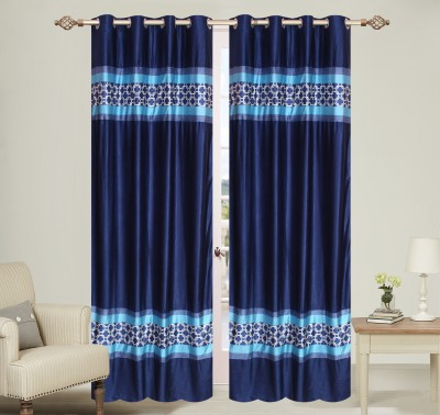 Daddy Homes Polyester Blue Self Design Curtain Door Curtain