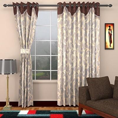 Elegance Handlooms CW7 Polyester Sandal, Brown Floral Concealed Tab Top Window Curtain