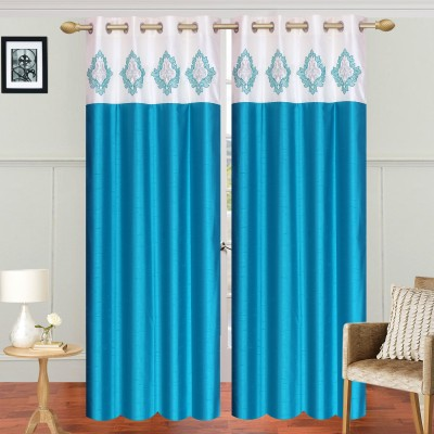 Abhi Decor Polyester Light Blue Embroidered Curtain Long Door Curtain