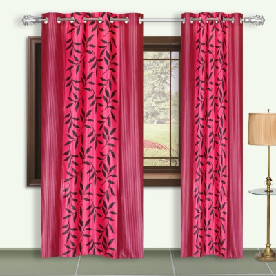 Dreaming Cotton Polyester Pink Floral Eyelet Door Curtain