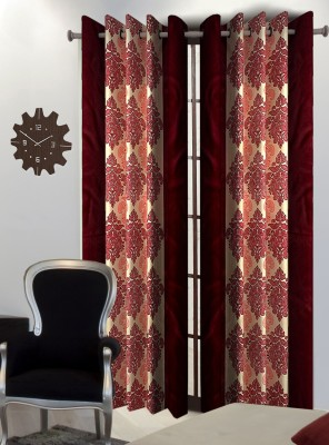Home Blossoms Polyester Maroon Floral Eyelet Window Curtain