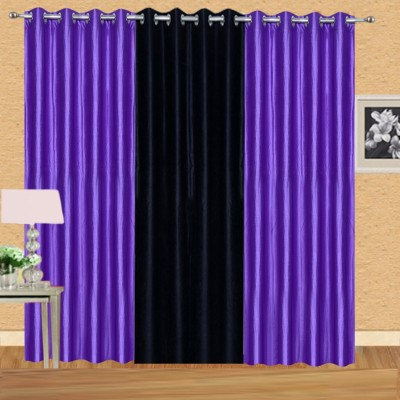 Excel Bazaar Polycotton Purple-1black Plain Eyelet Door Curtain