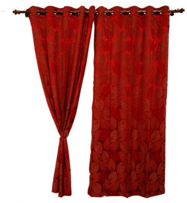 Oona Polyester Red Floral Eyelet Door Curtain