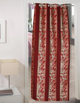 AJ Retails Polyester Bright Maroon, Chic Pink Floral Eyelet Door Curtain