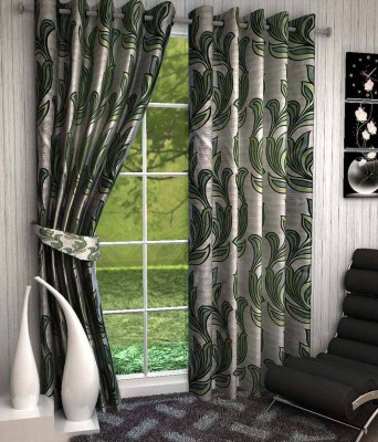 Divine Polyester Green Floral Eyelet Window Curtain