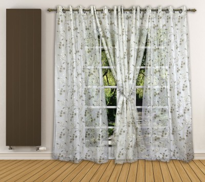 Ariana Tissue Beige Floral Curtain Door Curtain
