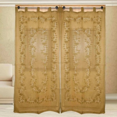 sriam Cotton Light brown Printed Curtain Window Curtain