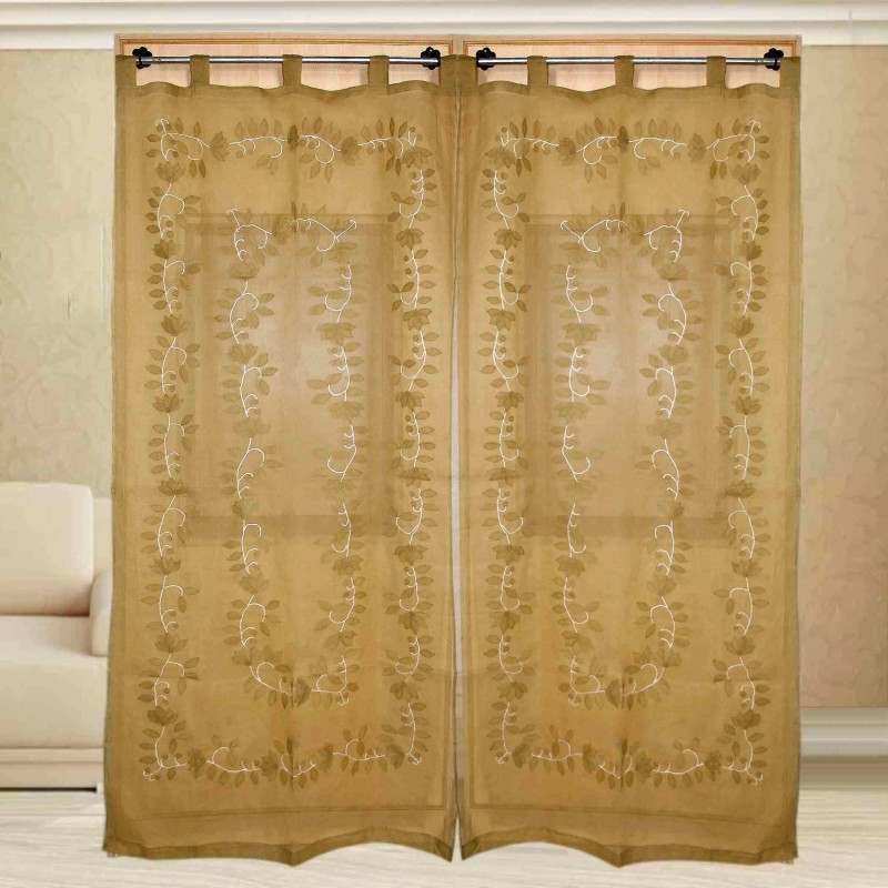 Sriam Cotton Light brown Printed Curtain Window Curtain(150 cm in Height, Pack of 2)