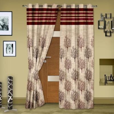 Rangoli Home Jacquard Brown Self Design Eyelet Door Curtain