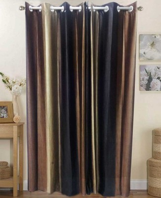K Gallery Polyester Brown Striped Eyelet Long Door Curtain