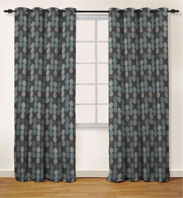 Oro Decor Polyester Smoke Blue Geometric Eyelet Window Curtain