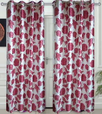 JF Polycotton Red Floral Eyelet Door Curtain