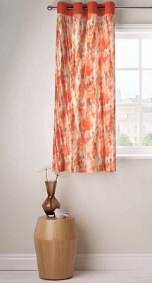 Fabutex Polyester Rust Floral Eyelet Window Curtain