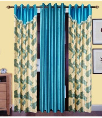 Homesazz Polyester Multicolor Self Design Eyelet Window Curtain
