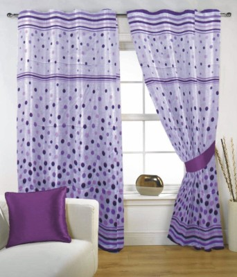 Fabutex Polyester Purple Floral Eyelet Door Curtain