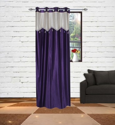 Gaurav Curtains Polyester Voilet Floral Eyelet Long Door Curtain
