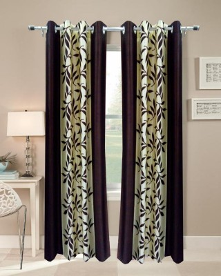 Livvin Polyester Brown Floral Eyelet Window Curtain