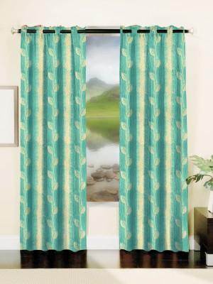 Mahamantra Polyester Light Blue Solid Eyelet Window Curtain