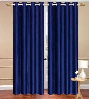 Daddyhomes Polyester Blue Plain Curtain Door Curtain