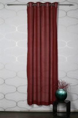 Homelife Polyester Maroon Solid Eyelet Door Curtain