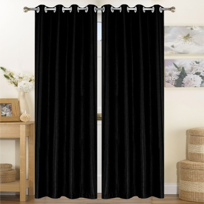 Thiwas Polyester Black Plain Eyelet Long Door Curtain