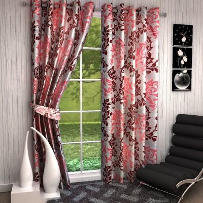 Fashion Weaving Polyester Maroon Floral Eyelet Long Door Curtain