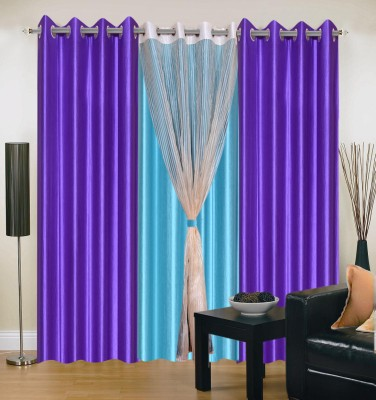 Hargunz Purple||Light Blue Floral Eyelet Long Door Curtain