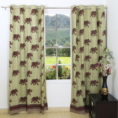 Ethnic Rajasthan Cotton Pale Brown Animal Ring Rod Window Curtain