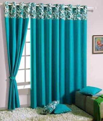 ANURAG TRADERS Polyester SKY BLUE Plain Curtain Door Curtain