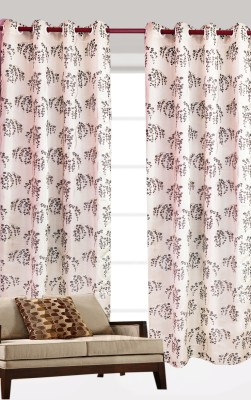 India Furnish Polycotton Maroon Floral Eyelet Long Door Curtain